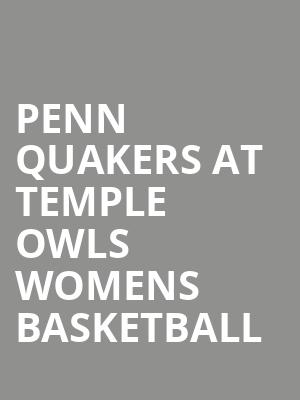 Penn Quakers at Temple Owls Womens Basketball at McGonigle Hall
